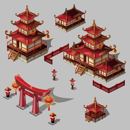 Houses in Japanese style, vector image, big set objects