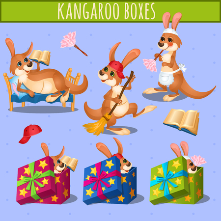 cartoon present: Home care kangaroo and gift boxes, staging vector illustration Illustration
