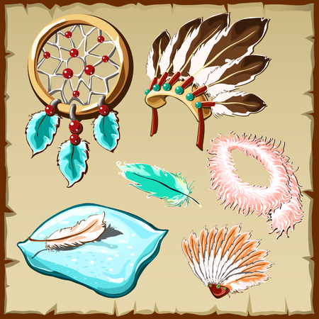 workmanship: Set of feathers, dream catcher, pillow and other items, six icons, cartoon illustration