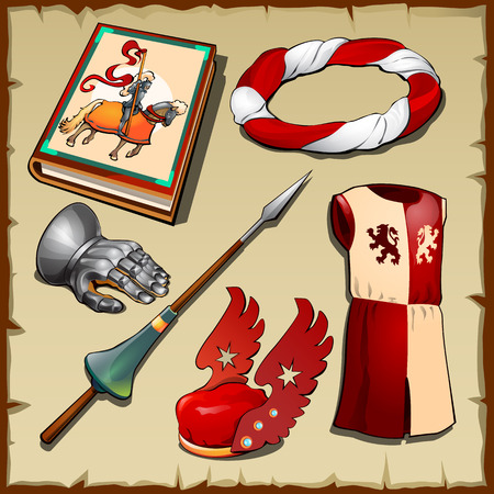 knight set of clothing, weapons and other symbols of the middle ages Illustration