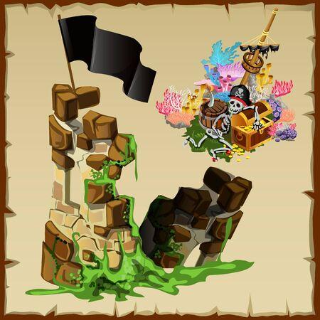 Fortress ruins of pirates and abandoned treasure, illustration, gaming location