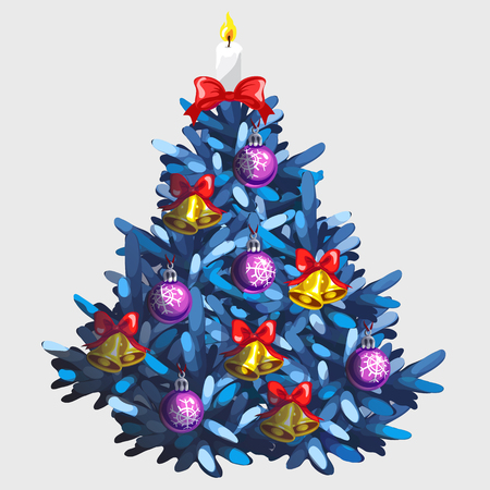 Blue Christmas tree with toys and garland, traditional holiday decorations Illustration