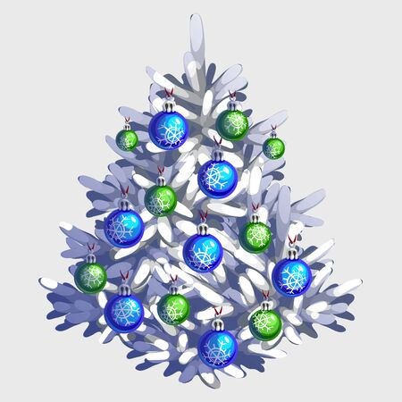 x mas parties: White Christmas tree with toys and garland, traditional holiday decorations Illustration