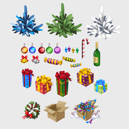 x mas parties: Three different color Christmas tree and decorations, isolated item Illustration