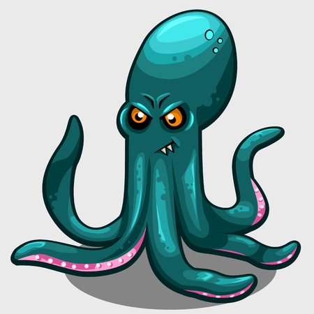 mollusc: Green evil octopus with eyes isolated vector illustration