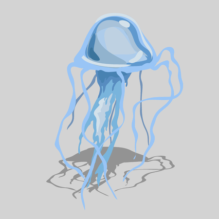 phosphorescence: Blue jellyfish with long tentacles, isolated vector image