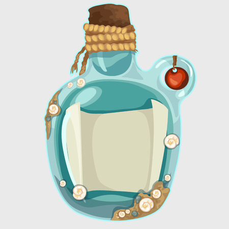 castaway: Blue old bottle with a note, isolated vector illustration