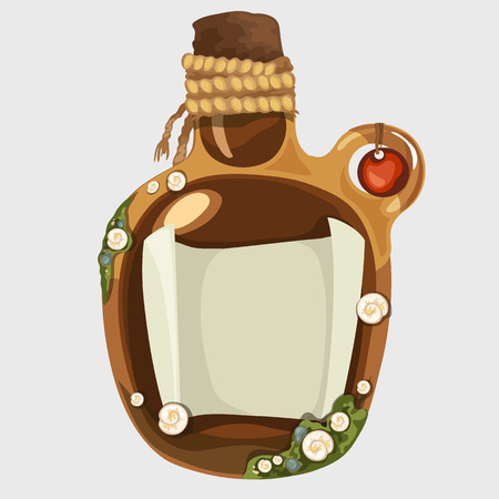 castaway: Brown old bottle with a note, isolated vector image Illustration