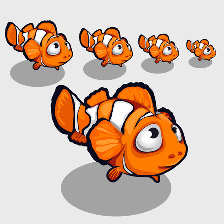 nemo: Funny clown fish with big eyes, icon for your design needs