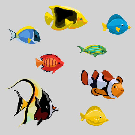 deepsea: Collection of tropical and deep-sea fish, vector illustration