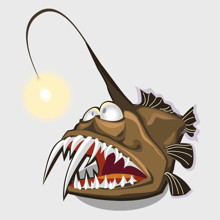 neon fish: Funny toothy fish lamp, character or icon for your design needs