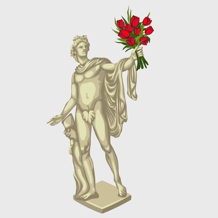 Greek man sculpture with red bouquet of flowers, stylized postcard
