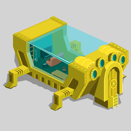 illuminator: Underwater bunker with a living room and furniture, unusual location for your design needs Illustration