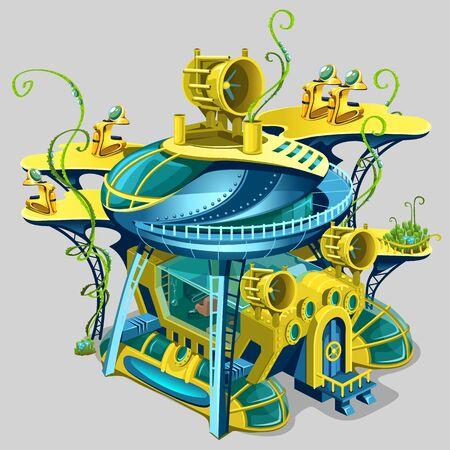 Scientific underwater station, cartoon gaming location