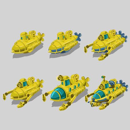 recolector de basura: Conjunto de seis submarinos m�s limpia de basura, elemento aislado