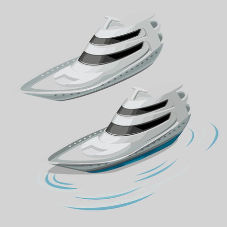 motor boat: Modern white motor boat, two isolated object and the silhouette of the wave Illustration