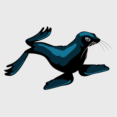 affable: Cute sea lion, single isolated icon for your design needs