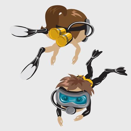 マスク、漫画のキャラクターで男の子と女の子のダイバー 写真素材 - 53768730