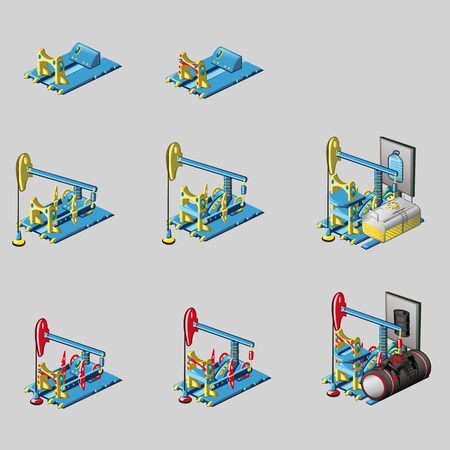 consecutive: Oil rig, eight consecutive icons of construction Illustration