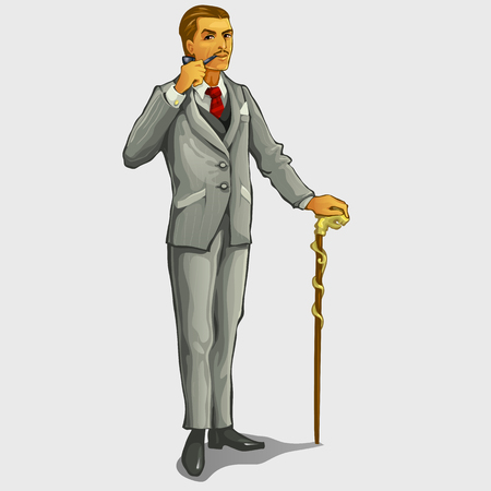 gallant: Gallant gentleman with cane and pipe, retro image character