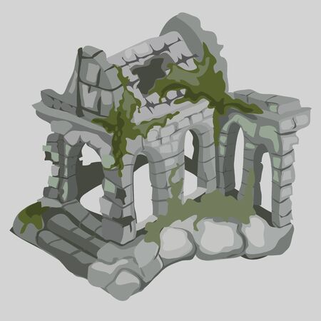 gothic build: Ruins of ancient houses, medieval style Illustration