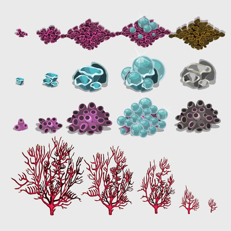 unicellular: Big set of corals and underwater plants for your design