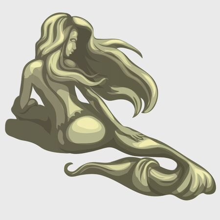sea nymph: Mermaid sculpture on the back, illustration