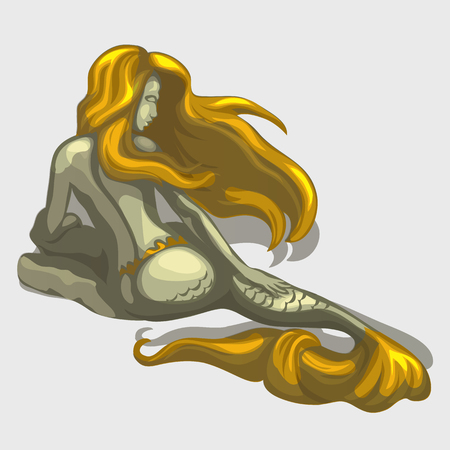sculpture: Mermaid sculpture on the back with golden hair and tail Illustration