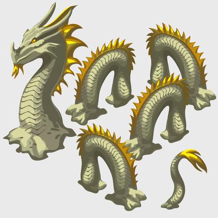 snake head: Dragon snake head and body elements, illustration
