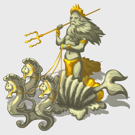 Character Triton with sea horse, stylish isolated image