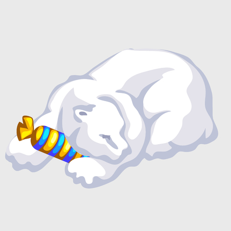 endangered species: Polar bear rests with candy, silhouettes and bright object