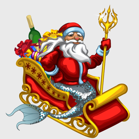 king neptune: Santa Claus with mermaid tail on a sled with gifts, vector isolated