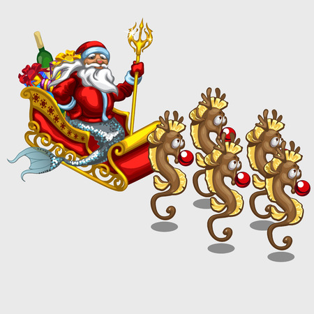 Triton Santa Claus on red sleigh drawn by sea horses, vector illustration Vectores