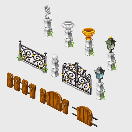 borough: Fence, columns, antique vases and other items, vector set with decorative elements