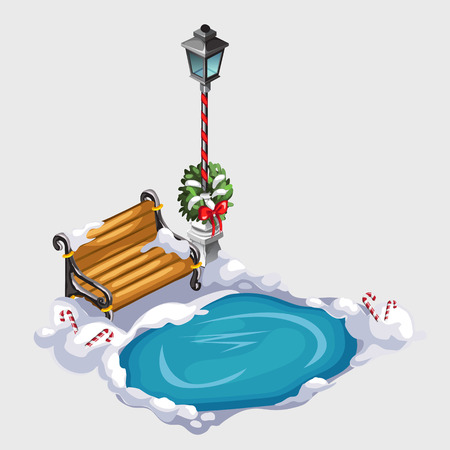 christmas candy: Composition with street lamp, bench and ice hole, winter scenic image Illustration