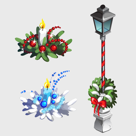 decorations wreaths: Classic street lamp and Christmas decorations from wreaths and candles Illustration
