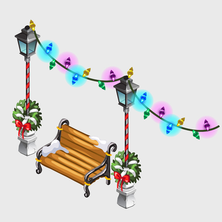 street lamp: Two street lamp, bench and colorful garland, holiday decor