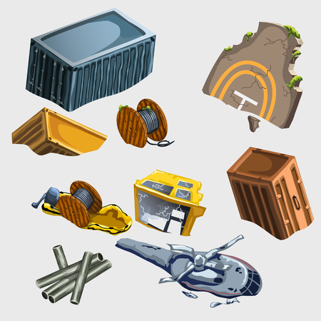 transposition: Broken helicopter and the wreckage of equipment, vector set Illustration
