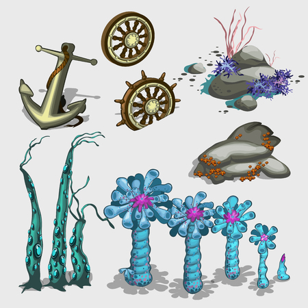anchored: Underwater plants, anchor and ship wheel, vector items