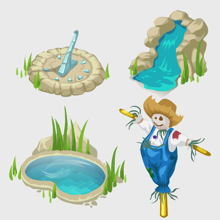 cascade mountains: Scarecrow, fountain, swimming pool and other decorative elements for landscape Illustration