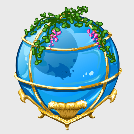 Round aquarium with gold trim and flower and lonely fish