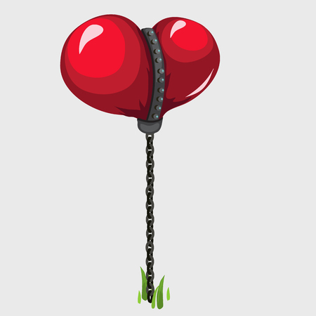conceptual symbol: Balloon in the shape of red heart held on a chain, conceptual symbol Illustration