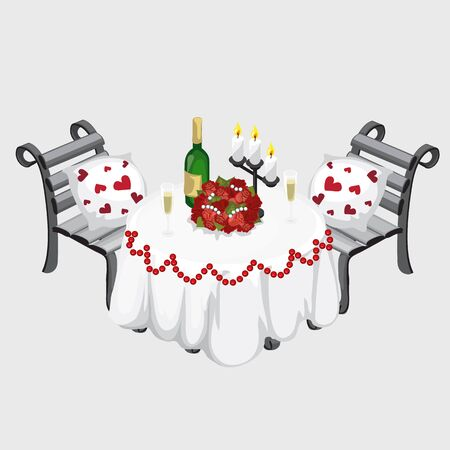 romantic: Table for a romantic dinner, champagne, flowers and candles