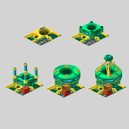 disguised: Unusual research station yellow-green colors, 5 vector icons construction