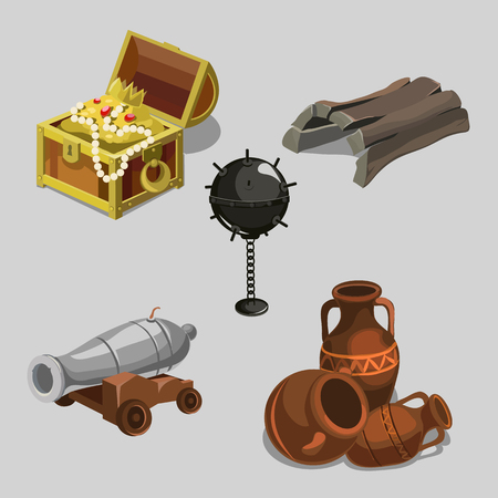 amphora: Remains of the ship, cannon, treasure, amphora, vintage collection items, five vector icons