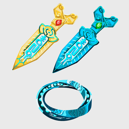bloodshed: Two fantasy sword with runes and magical bracelet, vector set Illustration