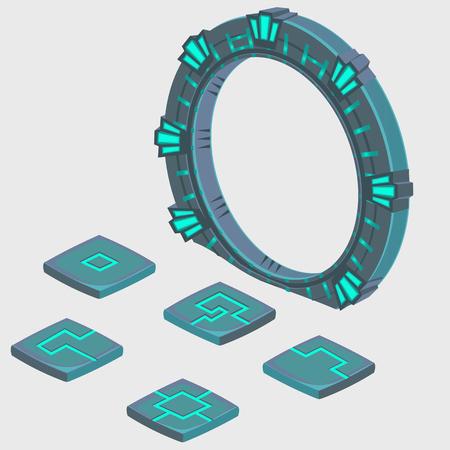 Portal in eine andere Dimension und Platte mit Runen, Vektor-Zusammensetzung
