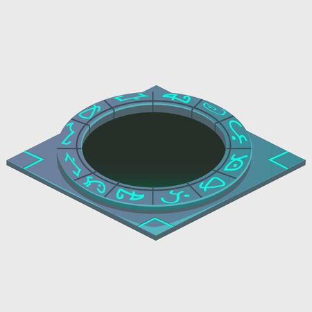 portal: Portal with glowing runes, series of artifacts, vector illustration