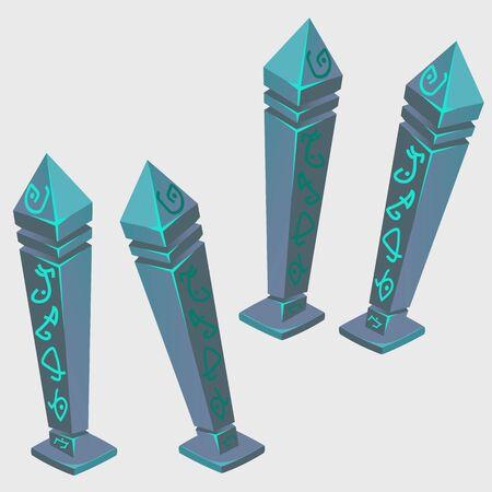 arcanum: Magical artifacts with runes, cartoon vector image
