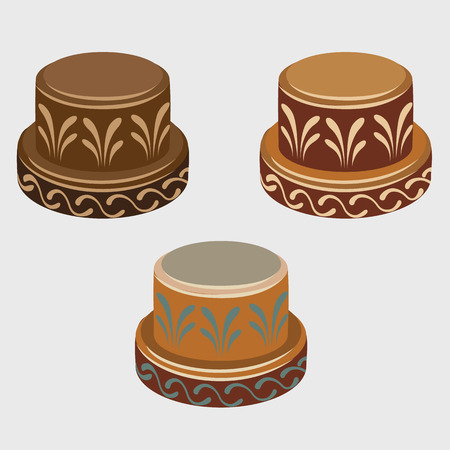 djembe: African symbols reels, three vector icons isolated